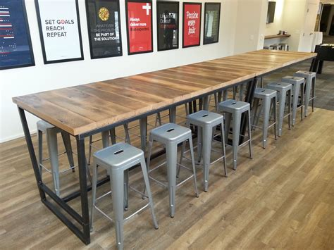 industrial high top table hand made reclaimed wood and steel industrial high top