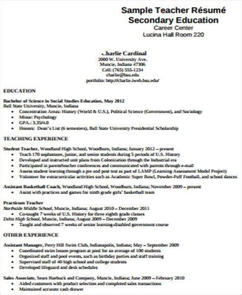 teacher resume examples  samples  word