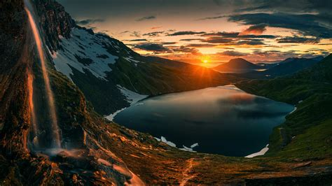 sunset  senja norway wallpaper backiee