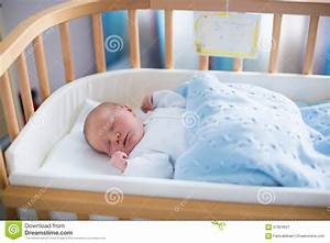 Newborn Baby Boy In Hospital Cot Stock Image - Image: 57824627