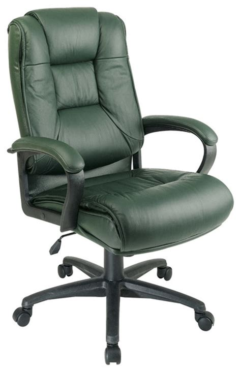 high back green executive leather office chair modern