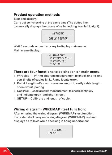 Product Operation Methods Wiring Diagram Wiremap Test