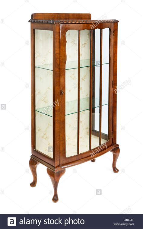 vintage glass display cabinet antique walnut and glass display cabinet stock photo 6803