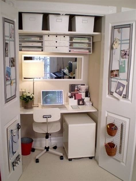 cool and stylish home office in closet design