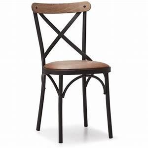 Chaise Industrielle Cuir : chaise cross m tal cuir style bistrot et industriel ~ Teatrodelosmanantiales.com Idées de Décoration
