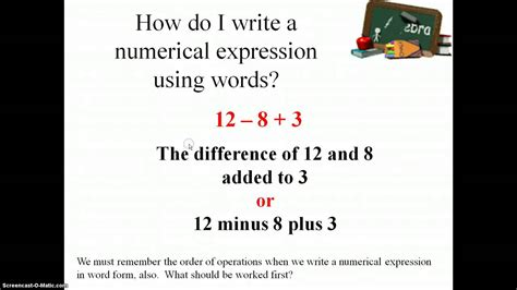 writing  interpreting numerical expressions oa