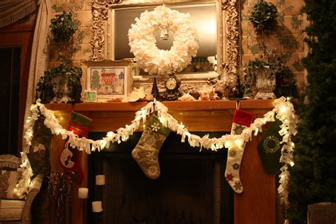mantle garland with lights 1x6 fabric tied to string of lights yule winter