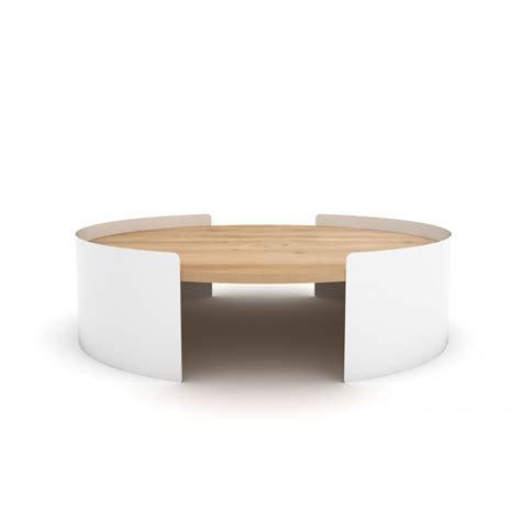 bureau design blanc table basse ronde en métal et chêne massif table moon