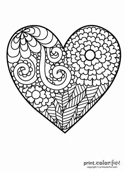 Coloring Heart Pages Flowery Printable Spiral Simple