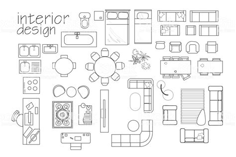 interior design floor plan symbols top view furniture cad