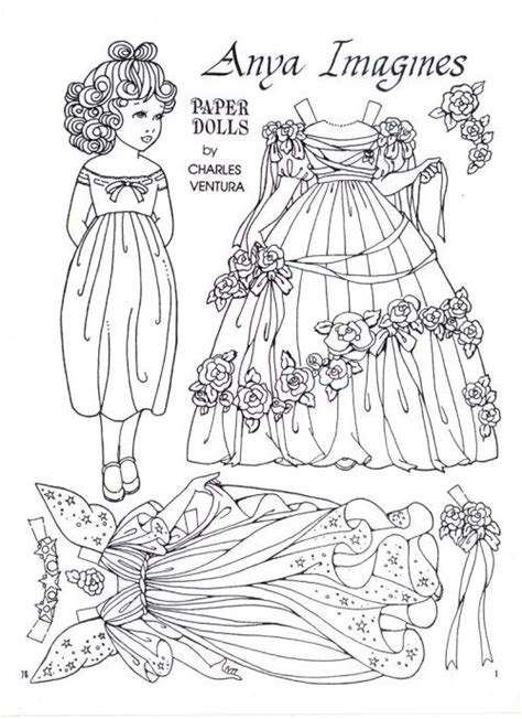 paper dolls coloring art print pages colouring