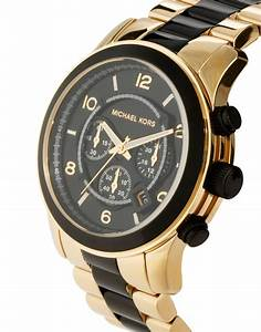 Lyst - Michael Kors Runway Gold Ion Plated Bracelet Watch ...