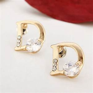 18k gold plated letter d zircon ear stud crystal alloy With gold letter k earrings