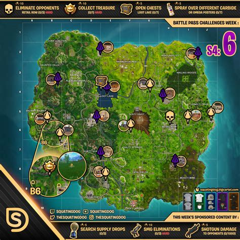 fortnite season 6 season 4 week 6 fortnite challenges guide map