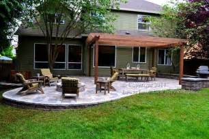 patio with fire pit and pergola ideas