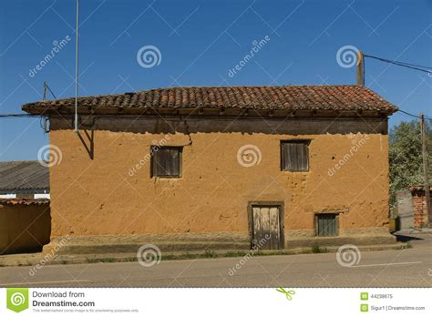 Old Adobe House In Village Stock Image. Image Of Sunshine