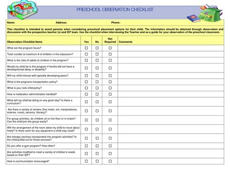 preschool observation checklist preschool 615 | 09ac5e0ee716f041640afbc64e4981af