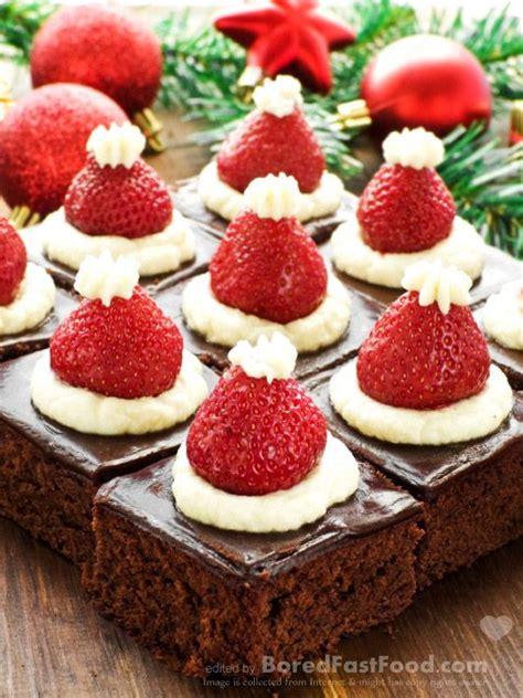 supper dessert santa hat mini brownies healthy christmas party dinner menu dessert ideas bored fast food