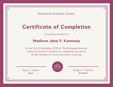 customize  completion certificate templates  canva