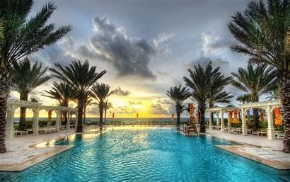 Palm Pool Swimming Trees Fiji Sunset Resort