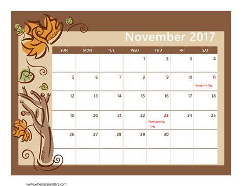 2017 calendar template pdf november 2017 calendar pdf printable 2017 calendars