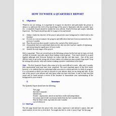 How To Write A Quarterly Report  English Language