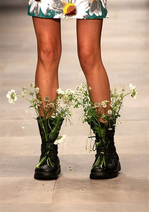 creative inspiration wear wild flowers  combat boots
