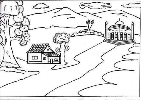 gambar pemandangan hitam putih untuk diwarnai harian