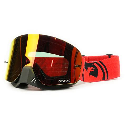 tinted motocross goggles dragon mx new nfx fade red black ion dirt bike