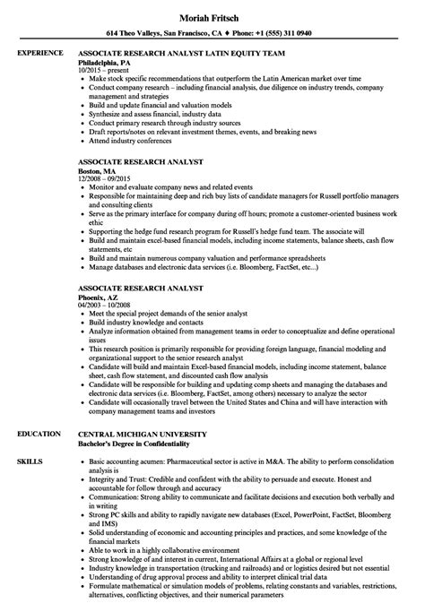 Research Associate Resume by Associate Research Analyst Resume Sles Velvet
