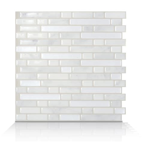 shop smart tiles white silver composite vinyl mosaic
