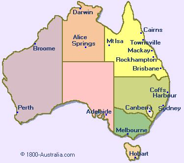 cities  australia map