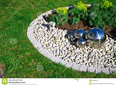 Garden Decoration Free by Garden Decoration With Silver Mirror Spheres Stock Photo