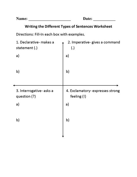 kinds of sentences worksheet for 2nd grade kidz activities
