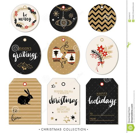 Christmas Gift Tag Hand Drawn Design Elements And