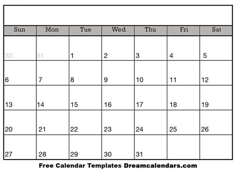 printable blank calendar calendar