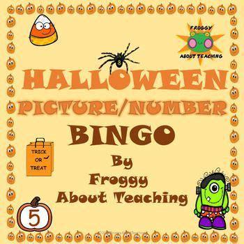 halloween number bingo  images halloween teaching