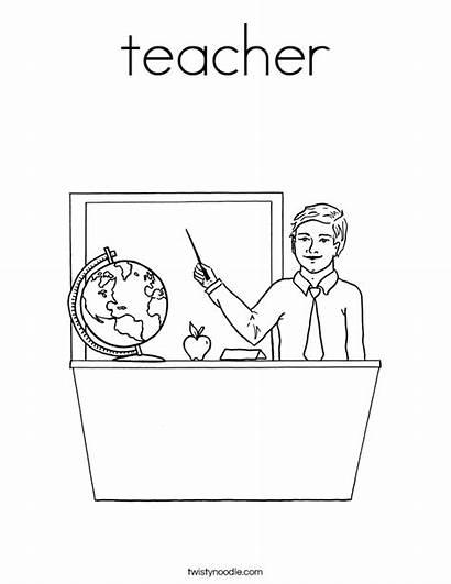 Teacher Coloring Pages Teachers Male Printable Built