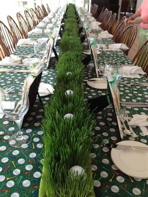 Wheat Grass And Golf Ball Long Centerpiece Shared On
