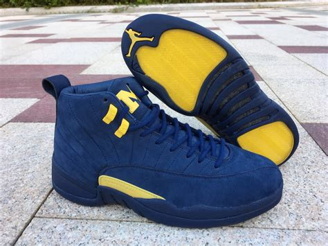 Mens Basketball Shoes Air Jordan 12 Michigan Deep Blue