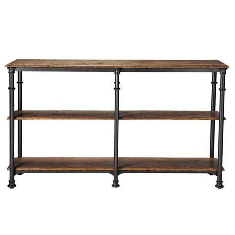 Table console en métal et bois massif recyclé noire L 160 cm