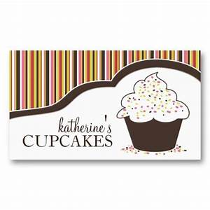 Whimsical bakery cupcake business cards for Cupcake business card