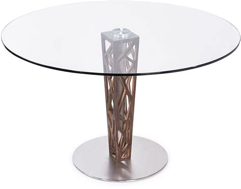 """Crystal 48"""" Clear Tempered Glass Top Round Dining Table"""