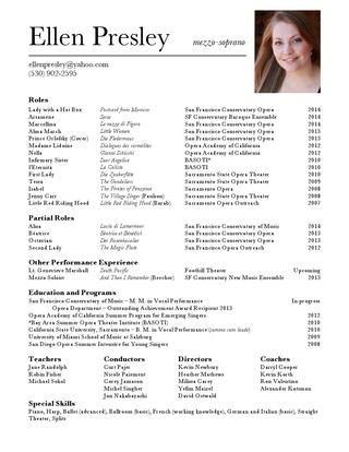 Opera Singer Resume by Opera Resume By Issuu