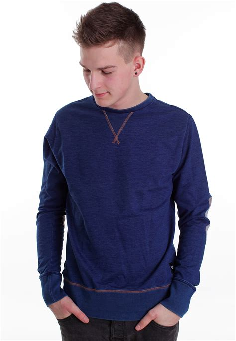 blue sweater rvca wex ii denim blue sweater impericon com worldwide