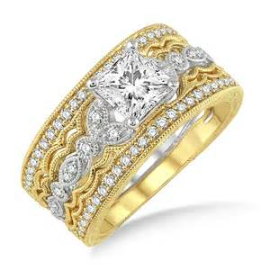 trio wedding ring sets 1 50 carat antique trio bridal set engagement ring with princess in 10k white and yellow