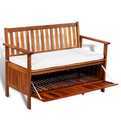 banc de jardin en bois avec coussin et coffre de rangement