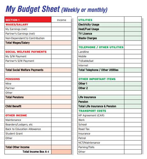 budget sheet templates  samples examples