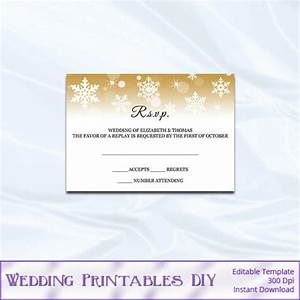 rsvp template diy gold snowflake wedding enclosure card With wedding invitation rsvp insert wording