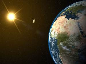 View Of Earth From Space With Moon And Sunlight In Background  High Res Image Maps  With